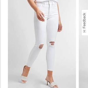 Express White Cropped Leggings Mid Rise Jeans Distressed Denim Pants Bottoms 2